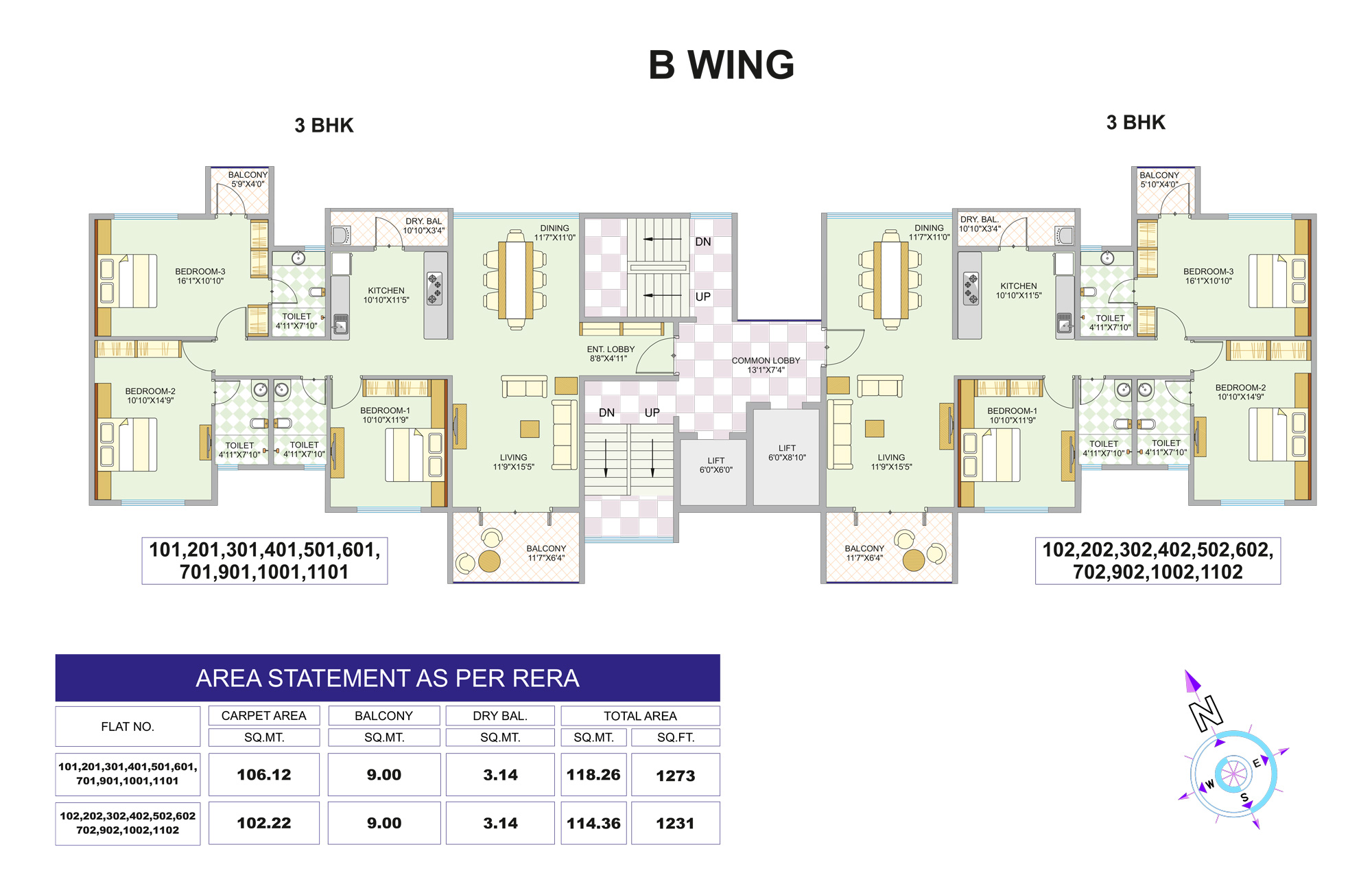 B WING 1st-11 Floor 1